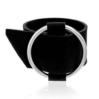 Imagen de Silver-Tone Brass Open Circle Black Leather Belt Design Bracelet