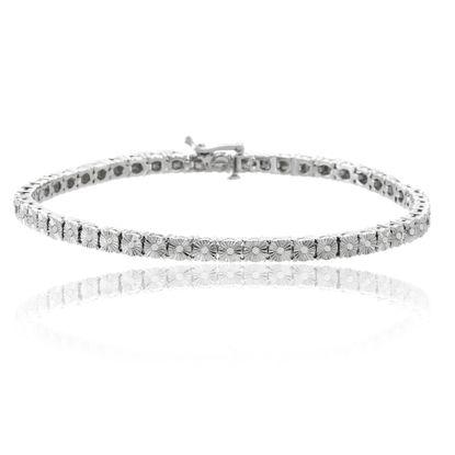 Picture of Silver-Tone Brass Diamond Accent Tennis Bracelet