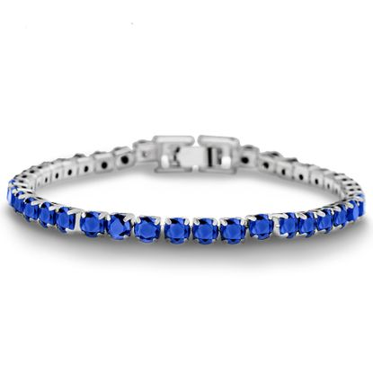 Picture of Rhodium Plated Brass Blue Cubic Zirconia Tennis Bracelet