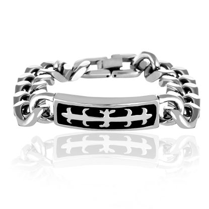 Imagen de Men's Silver-Tone Stainless Steel Curb Chain with Black Center Identification Flower Band Bracelet