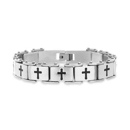 Imagen de Men's Two-Tone Stainless Steel Black Cross Link Bracelet