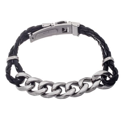 Imagen de Silver-Tone Stainless Steel Men's 8 Curb Chain and Black Double Layered Braided Leather Bracelet