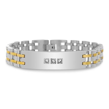 Imagen de Men's Two-Tone Stainless Steel IP Link andCubic Zirconia ID Bracelet