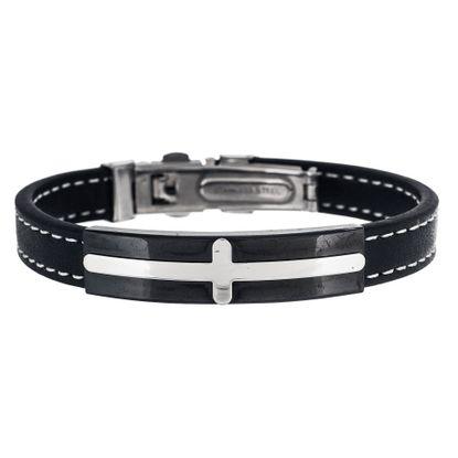 Imagen de Two-Tone Stainless Steel Stationed Cross Black Leather Bracelet