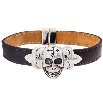 Imagen de Silver-Tone Stainless Steel Skull On Brown Leather Bracelet