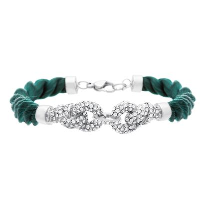 Imagen de Silver-Tone Stainless Steel Hunter Green Twisted Cord with Cubic Zirconia Polished Cluster Link Bracelet