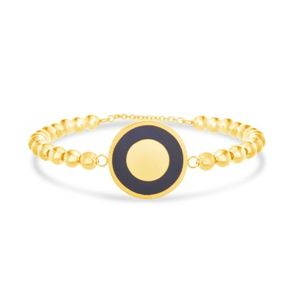 Picture of Gold-Tone Stainless Steel Black Enamel Round Disc Charm Beaded Bracelet