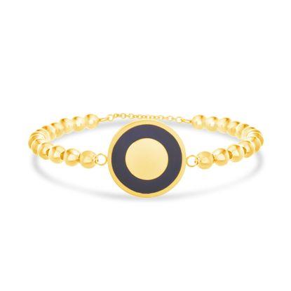 Imagen de Gold-Tone Stainless Steel Black Enamel Round Disc Charm Beaded Bracelet