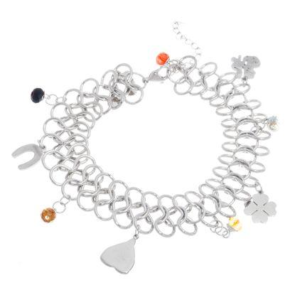 Imagen de Silver-Tone Stainless Steel Cubic Zirconia Beads Shamrock/Multi Charms Interlocked Links Bracelet