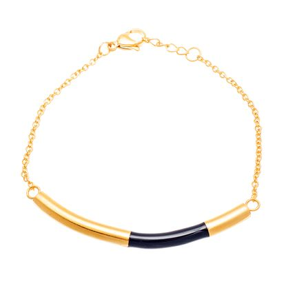 Imagen de Gold -Tone Stainless SteeL Black Enamel Curved Bar Cable Chain Bracelet