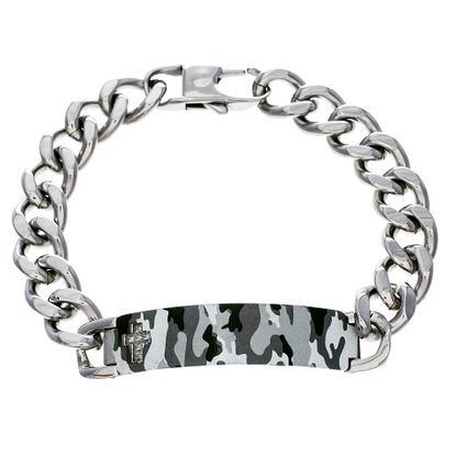 Imagen de Silver-Tone Stainless Steel Mens Engraved Cubic Zirconia Cross Gray Army Camouflage IP Bar 8 Curb Chain Bracelet
