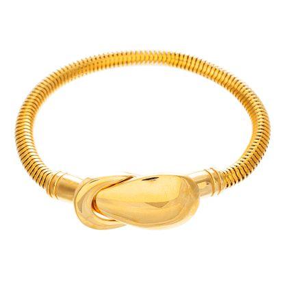 Imagen de Gold-Tone Stainless Steel Interlocking Magnetic Snake Head Round Snake Chain Bracelet