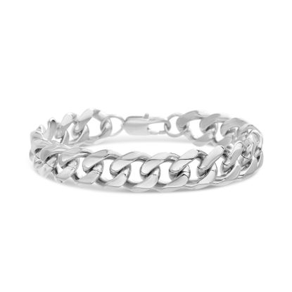 Imagen de Men's Silver-Tone Stainless Steel Thick Polished Curb Chain Bracelet