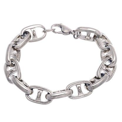 Imagen de Silver-Tone Stainless Steel Large Marine Link Bracelet