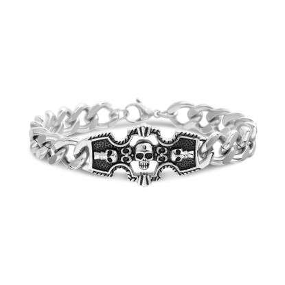 Imagen de Men's Stainless Steel With Black Enamel Skull Cross Curb Chain Bracelet