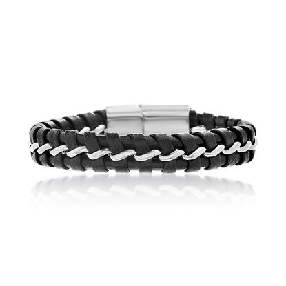Imagen de Men's Silver-Tone Stainless Steel Black Leather Magnetic Bracelet