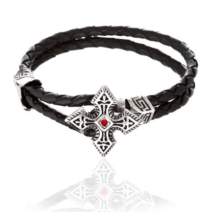 Picture of Silver-Tone Stainless Steel Cubic Zirconia Cross Loop Leather Bracelet