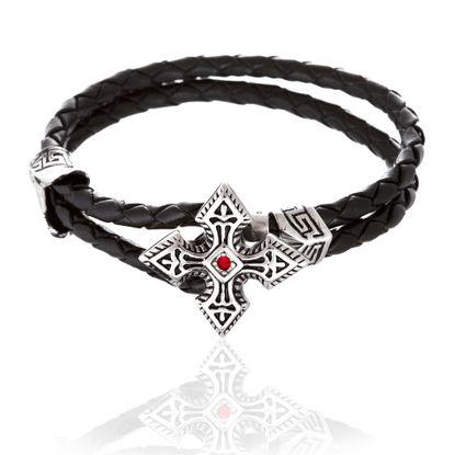 Imagen de Silver-Tone Stainless Steel Cubic Zirconia Cross Loop Leather Bracelet