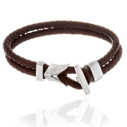 Imagen de Men's Silver-Tone Stainless Steel Anchor And Brown Double Strand Leather Bracelet
