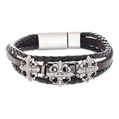 Picture of Two-Tone Stainless Steel Hammered Fluer De Lis Cross And Leather Bracelet