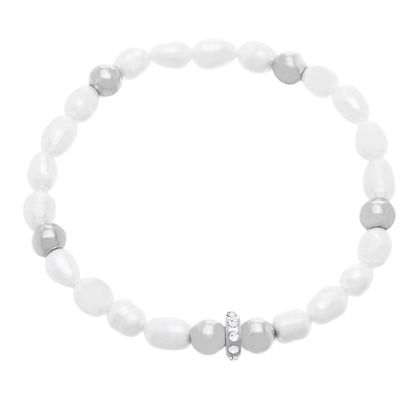 Picture of Stainless Steel Crystal Pearls Stretch Bracelet