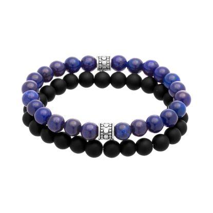 Imagen de Oxidized Stainless Steel Blue/Black Stone Beaded Duo Bracelet Set
