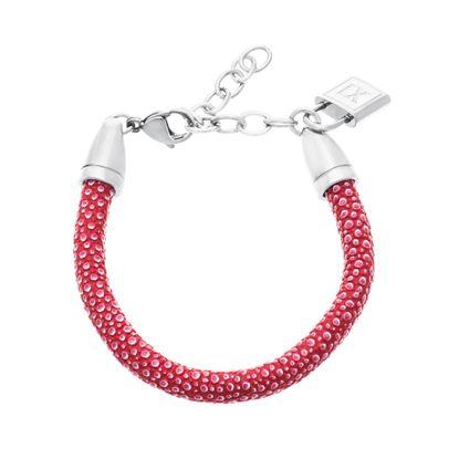 Imagen de Silver-Tone Stainless Steel XI  Lock Charm Red Leather Bracelet
