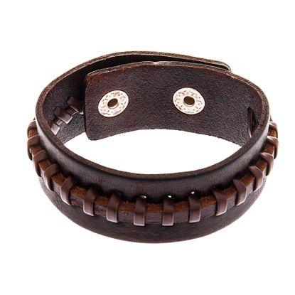 Imagen de Men's Silver-Tone Stainless Steel Brown Leather Bracelet