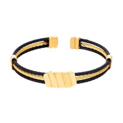 Imagen de Gold-Tone Stainless Steel Triple Later Black Wire Open Design Cuff Bracelet