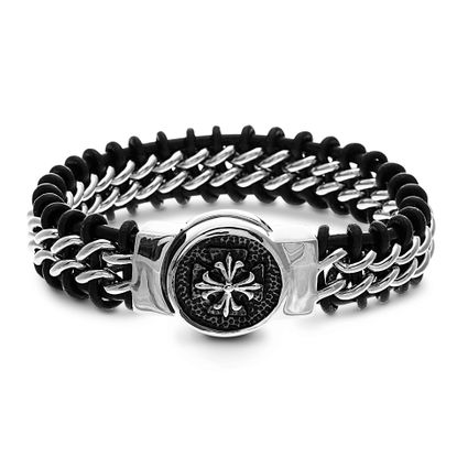 Imagen de Men's Silver-Tone Stainless Steel Tweeded Mixed Leather and Steel with Crescent Flower in the Center Bracelet