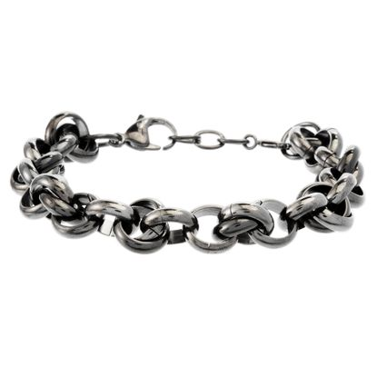 Imagen de Black-Tone Stainless Steel Interlocked Rings Bracelet