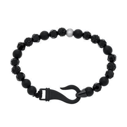 Imagen de Silver-Tone Stainless Steel Hematite Black Facet And BALL Bead Bracelet