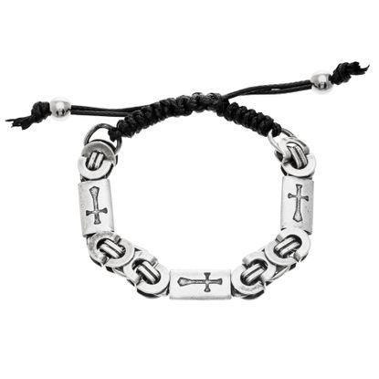 Imagen de Silver-Tone Stainless Steel Men's Oxidized Rectangle w/Cross Design Interlocking  Chain Bracelet