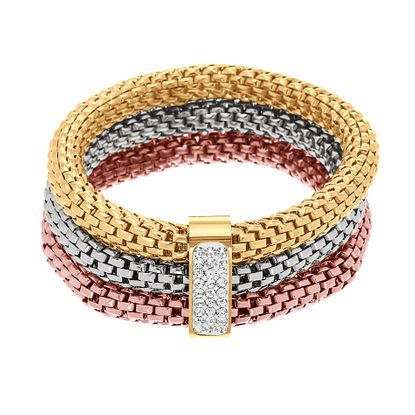 Imagen de Tri-Tone Stainless Steel Triple Strand with Pave Bar Connector Bracelet