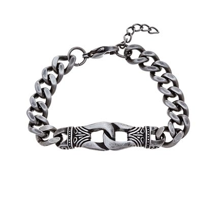 Imagen de Silver-Tone Stainless Steel Oxidized Textured Interlocked Links Curb Chain Bracelet