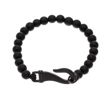 Imagen de Black-Tone Stainless Steel Matte Bead Hook Bracelet