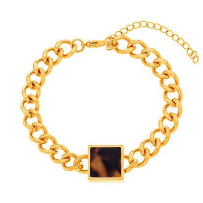 Imagen de Gold-Tone Stainless Steel Curb Chain Tortoise Square Charm Bracelet