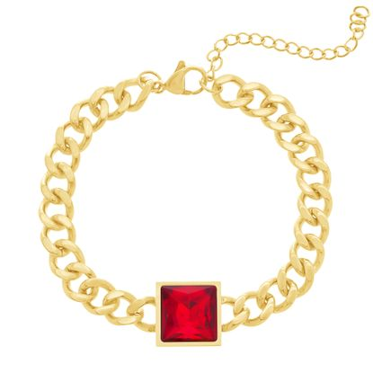 Imagen de Gold-Tone Stainless Steel Curb Chain With Red Square Charm Bracelet
