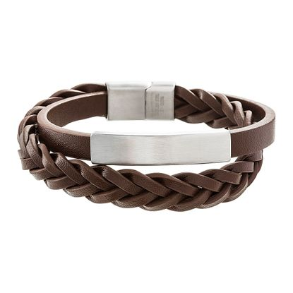 Picture of Silver-Tone Stainless Steel Braided Brown Leather Double Strand Bracelet