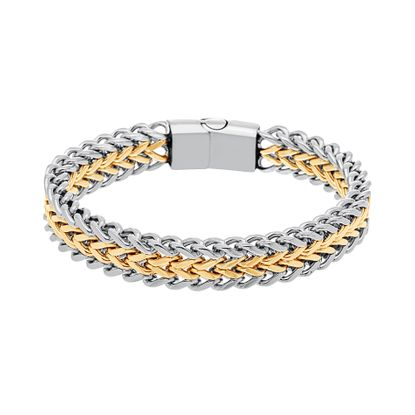 Imagen de Two-Tone Stainless Steel Polished Link Magnetic Bracelet