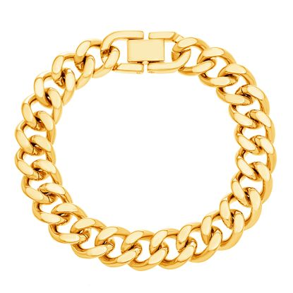 Picture of Gold-Tone Stainless Steel 7 Polished Thick Curb Bracelet