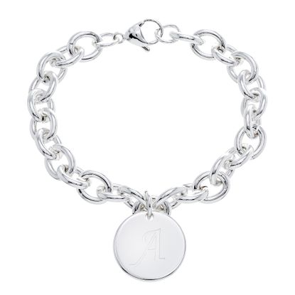 Imagen de STAINLESS STEEL SILVER PLATED ROUND INITIAL A CHARM 8.5 CABLE CHAIN BRACELET