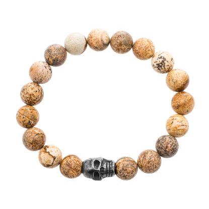 Imagen de Gold-Tone Stainless Steel Skull Charm Beaded Bracelet