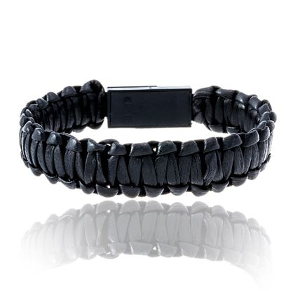 Imagen de Black-Tone Stainless Steel Leather Braided USB Post Bracelet