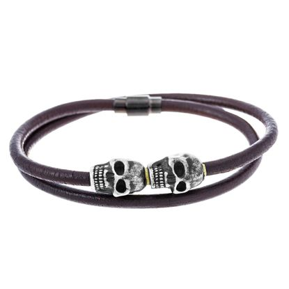 Imagen de Silver-Tone Stainless Steel Oxidized Brown Leather Wraparound Skull Bracelet