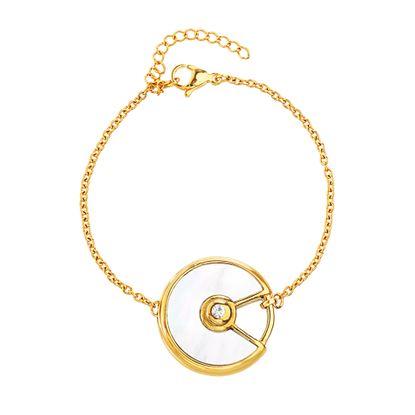 Imagen de Gold-Tone Stainless Steel Freshwater Pearl Round Open Bracelet