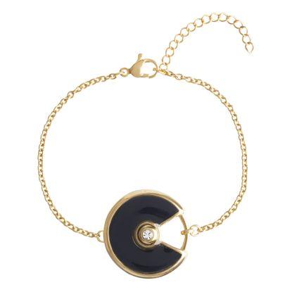 Imagen de Gold-Tone Stainless Steel Cubic Zirconia Black Enamel Round Charm 6+1 Cable Chain Bracelet