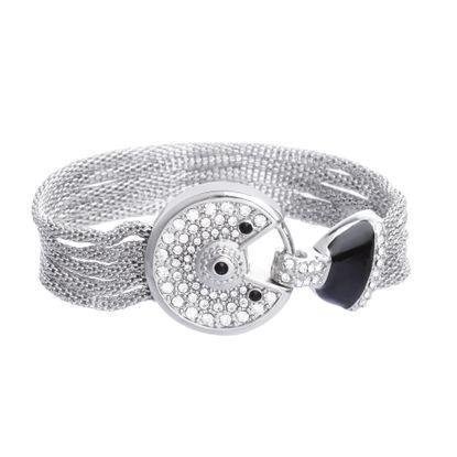Imagen de Silver-Tone Stainless Steel Black and White Cubic Zirconia Bezel Center and Round Open Design Ring Mesh Bracelet