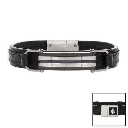 Imagen de Two Tone Black Stainless Steel Black Leather Strap Striped Bar Bracelet