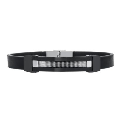 Imagen de Two Tone Black Stainless Steel Black Leather Strap Textured Bar Bracelet